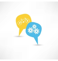 repair a bicycle in a bubble speech vector image