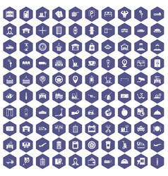 100 loader icons hexagon purple vector