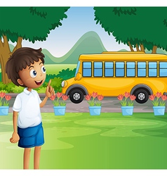 A young boy ready for school vector