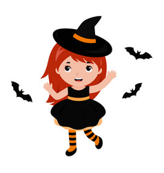 Adorable little witch dancing with bats halloween vector