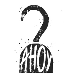 Ahoy typographic poster with pirate hook vector