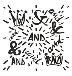 Ampersand and and typo set vector image