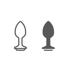 Anal plug line and glyph icon sex toy and adult vector