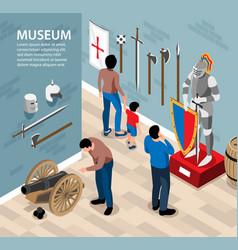 Ancient warriors museum background vector