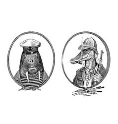 Animal character walrus sailor and crocodile vector
