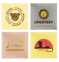 Assembly flat shading style icons logo bear lion vector
