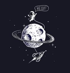 Astronaut flies on orbit planet vector