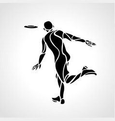 Athlete throwing frisbee playing frisbee vector