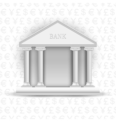 bank icon on background of symbols currency vector image