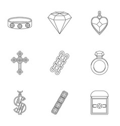 Bijou icon set outline style vector