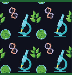 biology themed seamless pattern with microscopes vector image