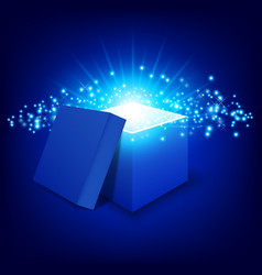 blue gift box on gradient background vector image