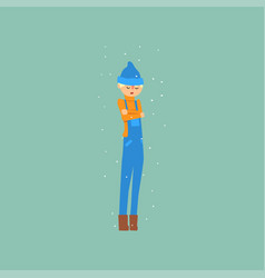 Boy in blue overalls and a hat freezing and vector