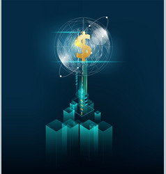 Business deep learning big data server digital vector