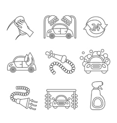 Car wash icons outline vector image