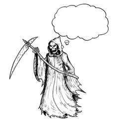 cartoon grim reaper with scythe and black hood vector image