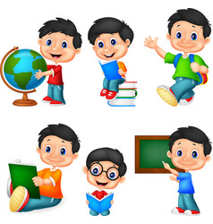 Cartoon little boy collection set vector