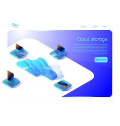 Cloud data storage web page template for web vector