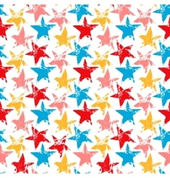 Colorful worn out grunge stars prints seamless vector image