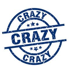 Crazy blue round grunge stamp vector