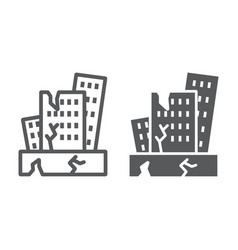 Earthquake line and glyph icon disaster and vector