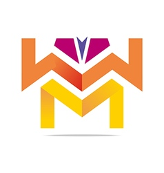 Element letter w m arrow symbol icon vector