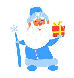 Father frost with a present flat vector