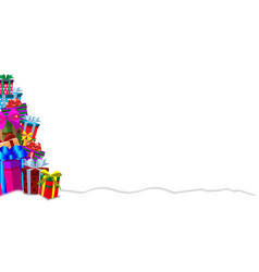 festive banner template with heap of gifts on vector image