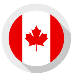 Flag canada round shape icon on white vector