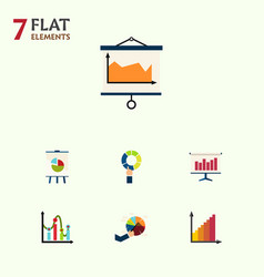 Flat icon graph set of easel graph chart and vector