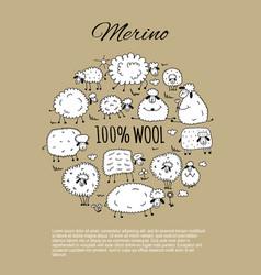 Flock of sheeps sketch for your design vector