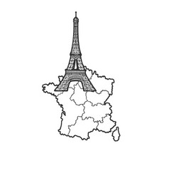 France map and eiffel tower sketch vector