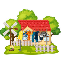front house with clothes hanging vector image