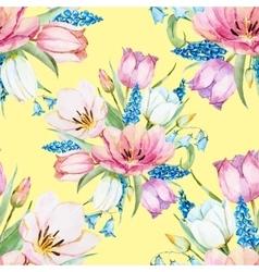 Gentle spring floral raster pattern vector image