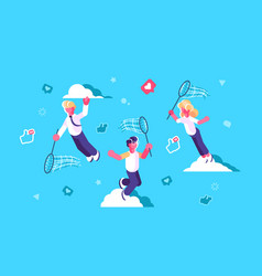 global social media network design vector image