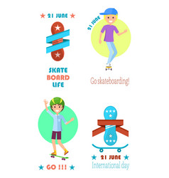 go skateboarding international day event 21 june vector image