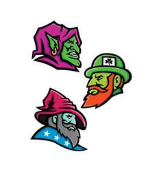 Goblin leprecahun and wizard mascot collection vector