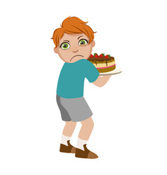Greedy boy not sharing cake part bad kids vector