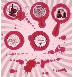 grungy imprints with splashes wine glasses vector image