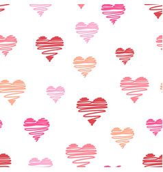 hand-drawn doodle hearts seamless pattern vector image