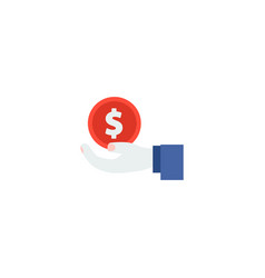 hand money icon flat element vector image