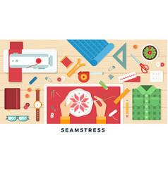 handmade seamstress flat vector image