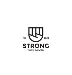 Hands clenched line for strong and spirit logo vector