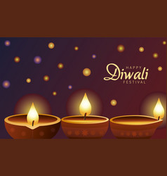 happy diwali celebration with three candles wooden vector image
