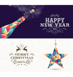 Happy new year 2015 merry christmas bottle star vector