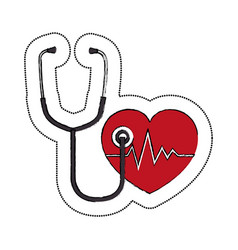 heart cardiology and stethoscope symbol icon vector image