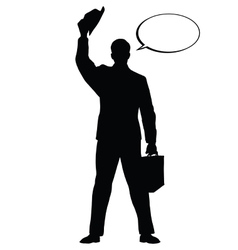 Hello businessman hat gesture black silhouette vector image