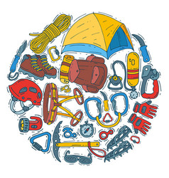 Hiking equipment circle set vector