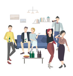 Home party with dancing drinking people flat vector