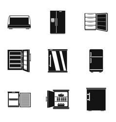 Icebox icons set simple style vector